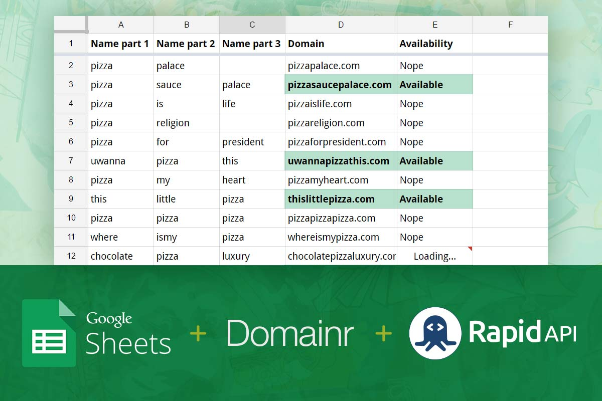 Check if domain names are available using a Google Spreadsheet